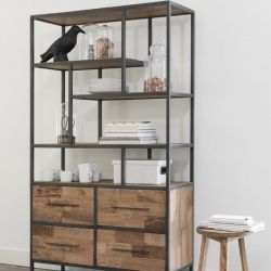 Bibliothèque 4 tiroirs teck recyclé et métal 100cm SWAN d-bodhi