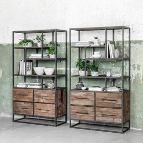 etagere 4 tiroirs teck recyclé et métal 100cm SWAN d-bodhi