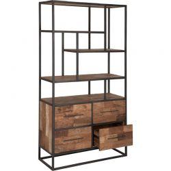 Bibliothèque 4 tiroirs teck recyclé et métal 110cm SWAN d-bodhi