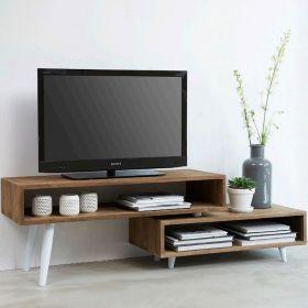Meuble TV extensible teck et métal blanc 146cm TWIN d-bodhi