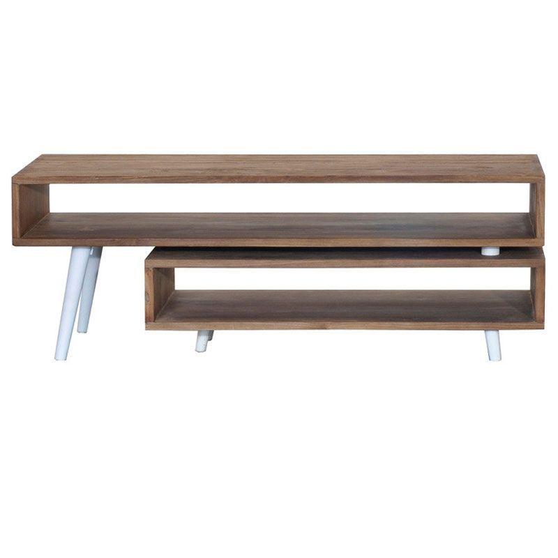 Meuble TV extensible teck et métal blanc 180cm TWIN d-bodhi