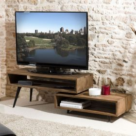 Meuble TV scandinave teck et métal noir 180cm TWIN d-bodhi