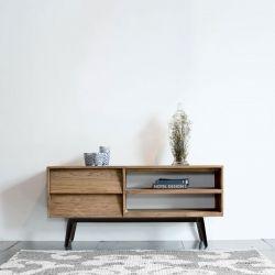 Meuble TV scandinave teck et noir 120cm TWIN d-bodhi
