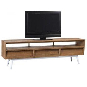 Meuble TV teck et métal blanc 200cm TWIN d-bodhi