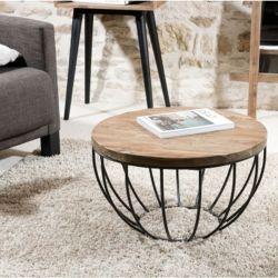 Table basse teck et métal noir 60cm SWIN d-bodhi