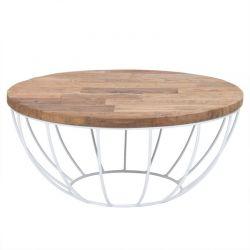 Table basse teck et métal blanc 80cm SWIN d-bodhi