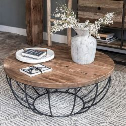 Table basse ronde teck noir 80cm SWIN d-bodhi