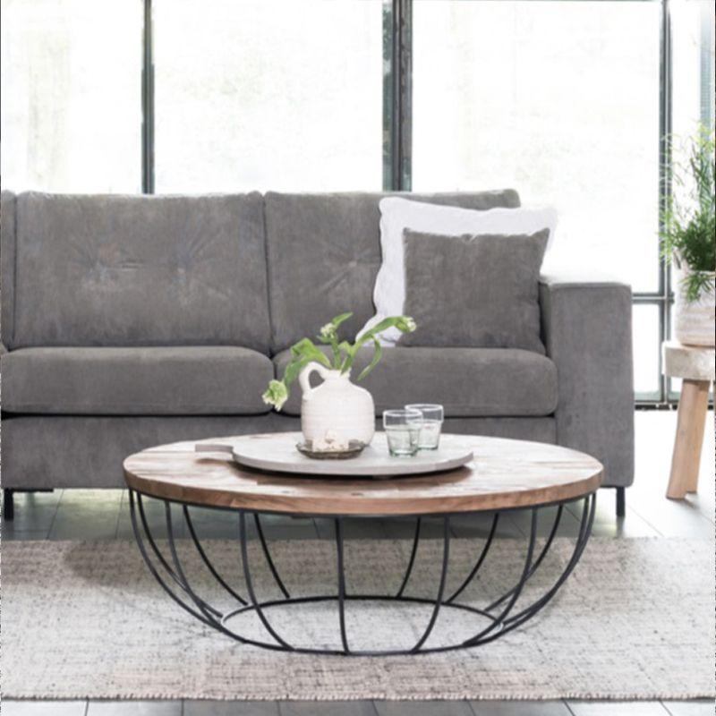 Table basse industrielle ronde noir 100cm SWIN d-bodhi