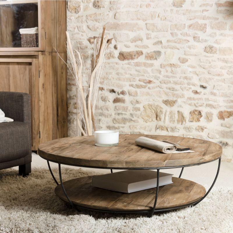 Table basse teck et métal noir double plateau SWIN d-bodhi