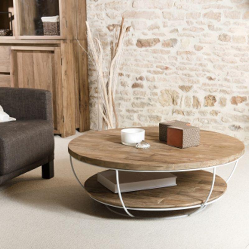 Table basse teck et métal blanc double plateau SWIN d-bodhi