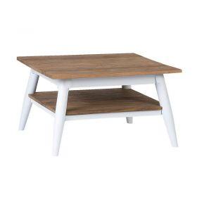 Table basse teck et métal blanc 60cm TWIN d-bodhi