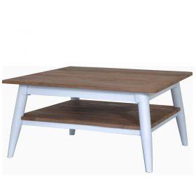 Table basse teck et métal blanc 80cm TWIN d-bodhi