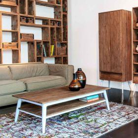 Table basse teck et métal blanc 120cm TWIN d-bodhi