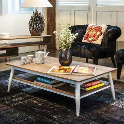 Table basse scandinave teck et métal blanc 140cm TWIN d-bodhi