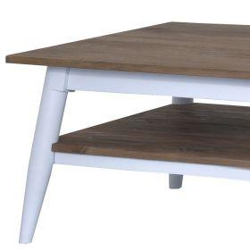 Table basse blanc et bois teck 140cm TWIN d-bodhi