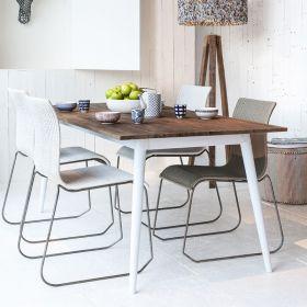 Table repas teck et métal blanc 170cm TWIN d-bodhi