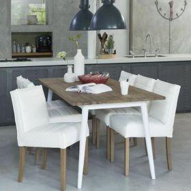 Table repas teck et métal blanc 200cm TWIN d-bodhi