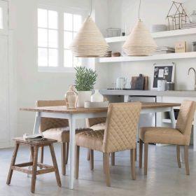 Table repas teck et métal blanc 230cm TWIN d-bodhi