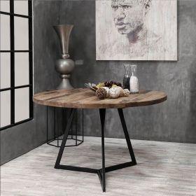 Table industrielle ronde teck et métal 130cm SWIN d-bodhi