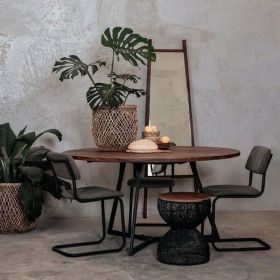 Table repas ronde teck et métal 150cm SWIN d-bodhi
