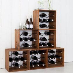 Lot de 2 range bouteille vin teck et métal 32cm SWIN d-bodhi