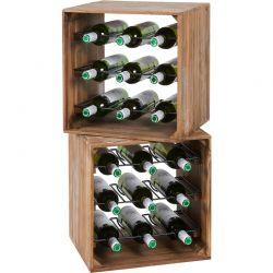 Lot de 2 casiers à vin en bois massif teck 32cm SWIN d-bodhi